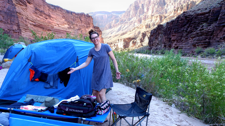 Author Sara Schaefer in front of her tent in the Grand Canyon.