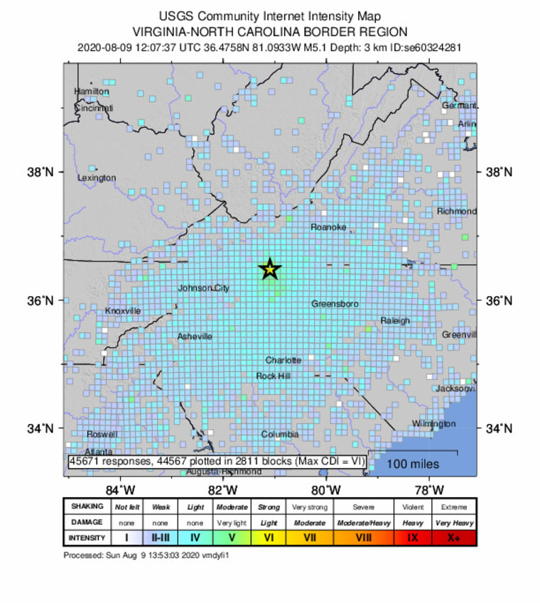 An intensity map shows the effects of an earthquake in North Carolina.