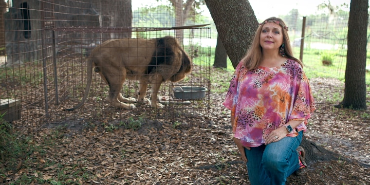 "Carole Baskin in a still from ""Tiger King: Murder, Mayhem and Madness"" on Netflix."