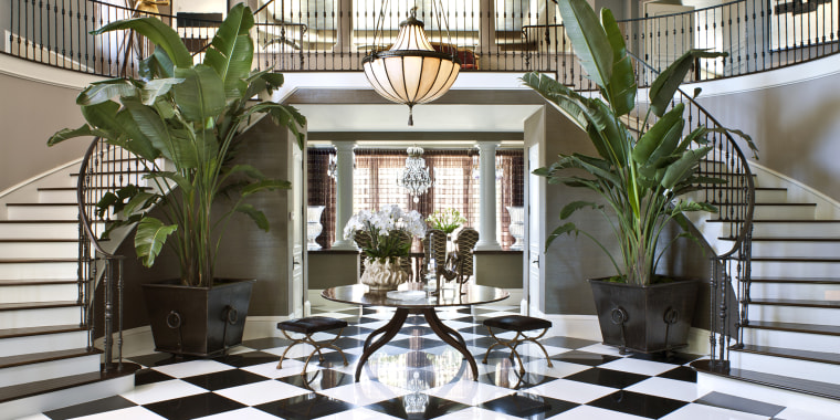 The entryway to Kris Jenner's home features this classic trend.