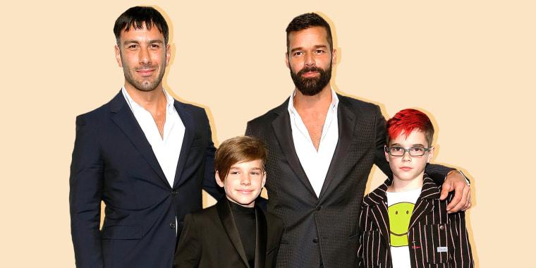 Jwan Yosef and Ricky Martin with twins Valentino and Matteo.