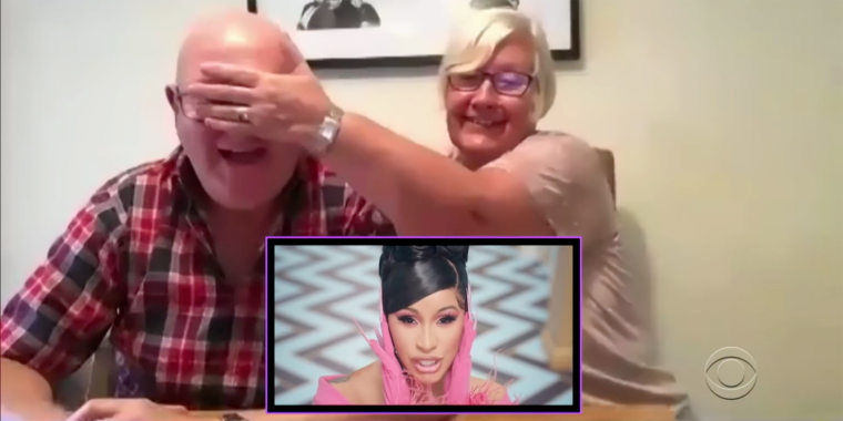 """The parents of """"The Late Late Show"""" host James Corden had quite a time watching Cardi B and Megan Thee Stallion's """"WAP"""" music video."""