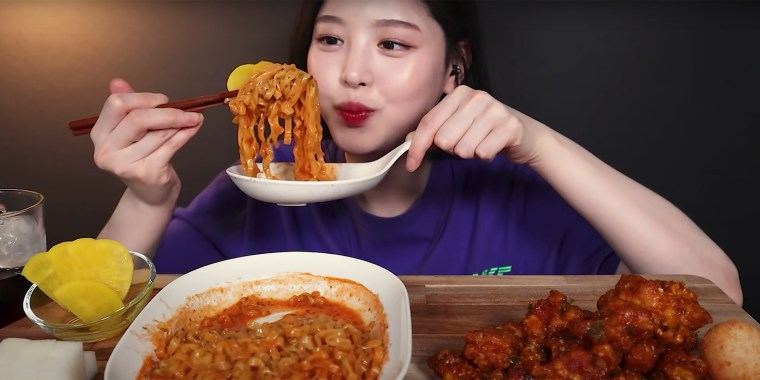 "Mukbang it translates to ""eating broadcast"" in Korean."