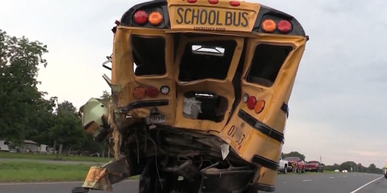 Damage is seen on a school bus following a crash in Bacon County, Ga., on Aug. 12, 2020.