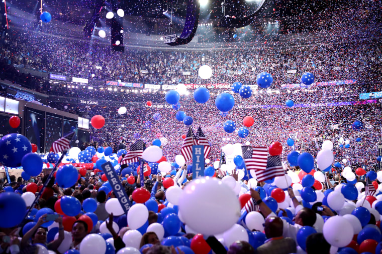 Image: Balloons fall over delegates and attendees at the Democratic National Convention in Philadelphia on July 28, 2016.