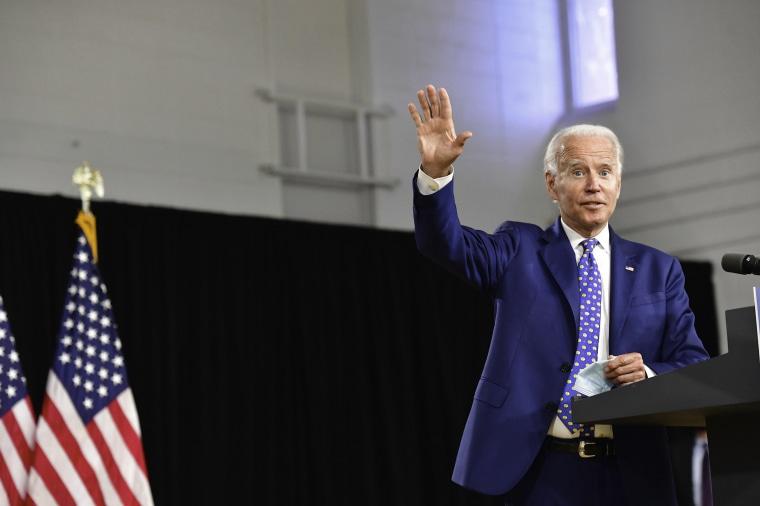 Democratic presidential nominee Joe Biden delivers a speech in Wilmington, Del., on July 28, 2020.