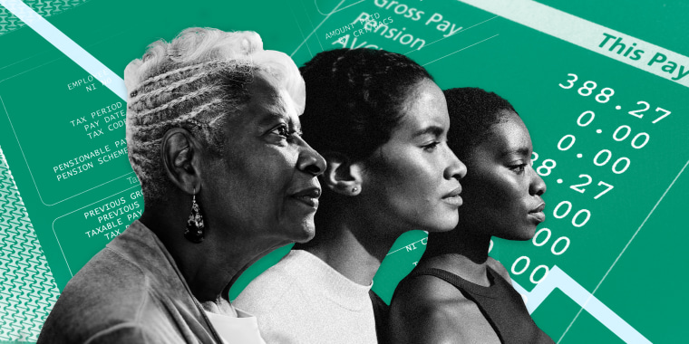 Image: Three Black women with a background of paystubs and paychecks and a downward facing line graph.