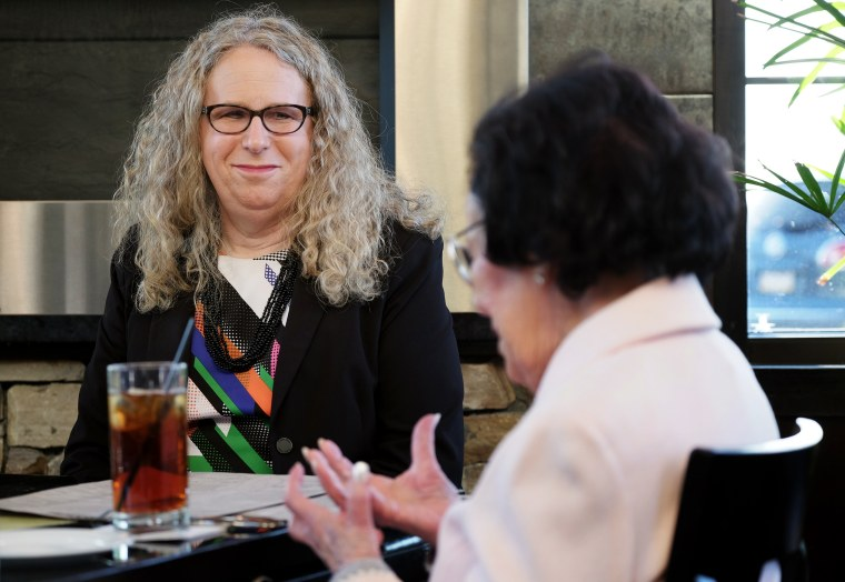 Rachel Levine, physician general for the state of Pennsylvania, with her mother Lillian Levine, in Harrisburg, Pa., on May 16, 2016.