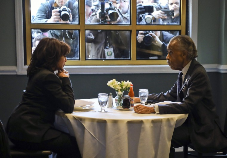 Sen. Kamala Harris meets with civil rights leader Rev. Al Sharpton, president of the National Action Network, during lunch at Sylvia's Restaurant, a Harlem landmark, on Feb. 21, 2019.