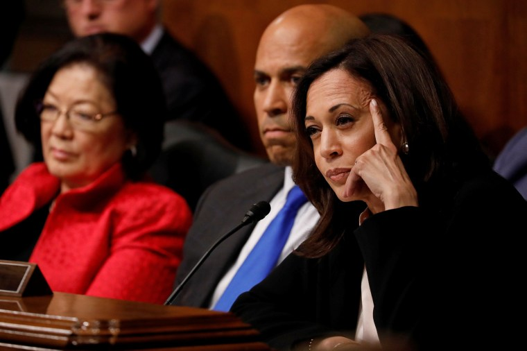 Image: Sen. Kamala Harris asks a question as U.S. Attorney General William Barr testifies before a Senate Judiciary Committee hearing on Capitol Hill in Washington