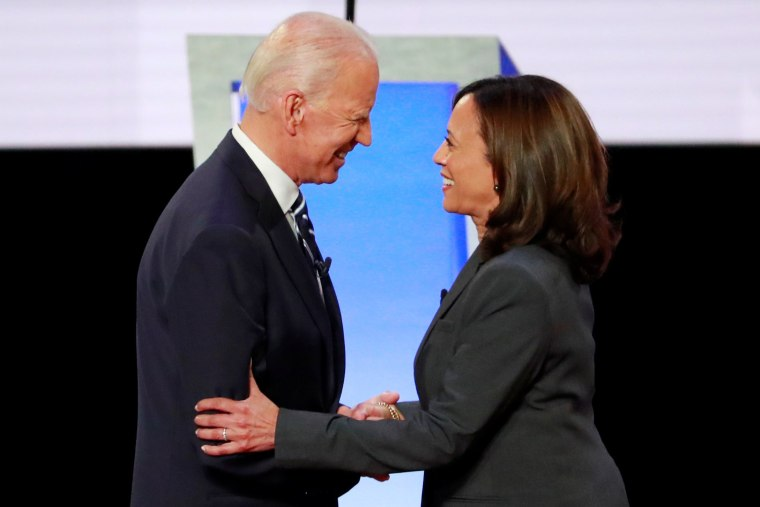 Image: FILE PHOTO: Former Vice President  Biden and Senator Harris shake hands before the start of the second night of the second U.S. 2020 presidential Democratic candidates debate in Detroit