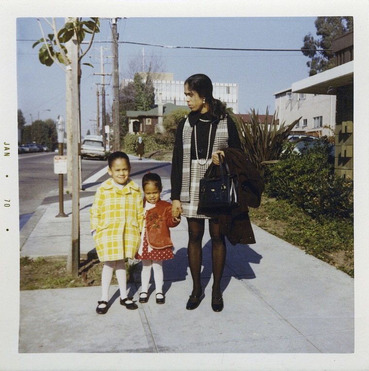 Kamala Harris, left, with her sister, Maya, and mother, Shyamala, outside their apartment in Berkeley, Calif., in 1970.