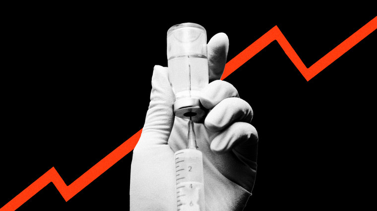 Image: A syringe extracts insulin from a vial; a red line graph rises in the background.