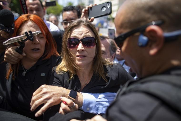 Puerto Rico's former education secretary Julia Keleher arrives at federal court in San Juan on July 16, 2019.