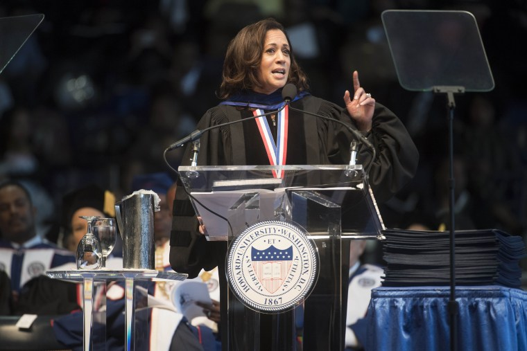 Sen. Kamala Harris, D-Calif., gives the convocation oration at the 2017 Howard University commencement ceremony in Washington on May, 13, 2017.