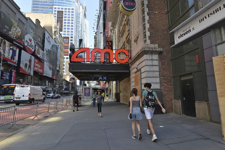 A closed AMC movie theater in New York City on June 9, 2020.