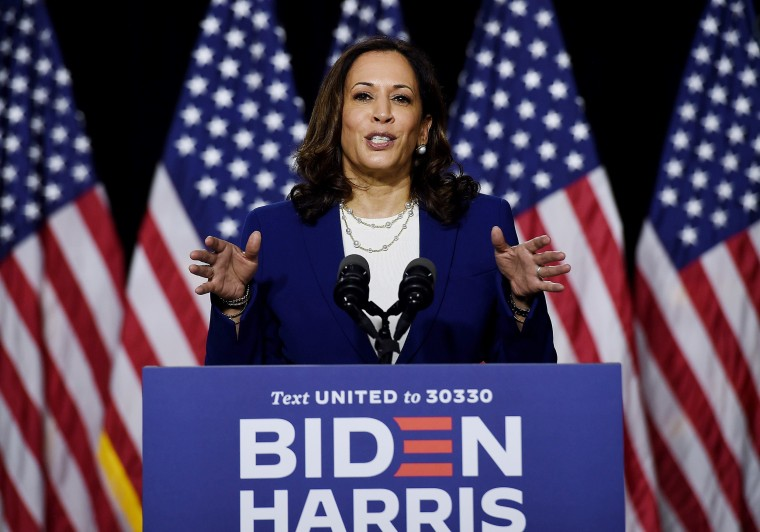 Image: Kamala Harris speaks during the first press conference with Joe Biden in Wilmington, Del.,