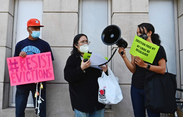 Community members protest against evictions outside the Bronx housing court in New York on Aug. 10, 2020.