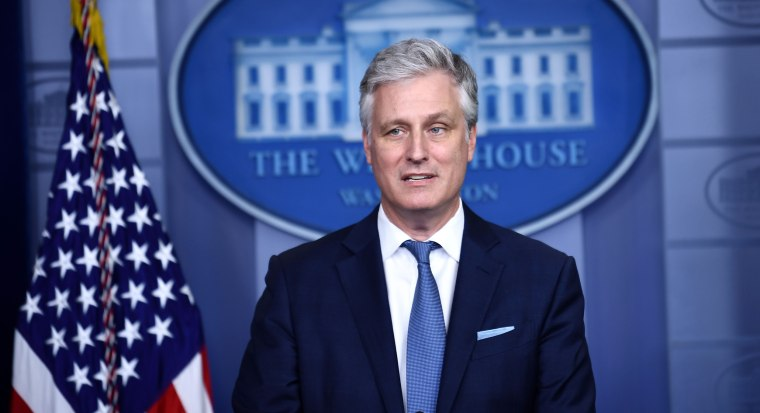 National Security Advisor Robert O'Brien speaks during a press briefing at the White House on Aug. 13, 2020.