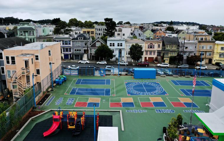 Image: An empty schoolyard in San Francisco