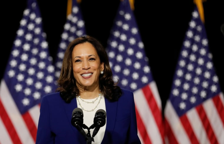 Image: Democratic vice presidential candidate Senator Kamala Harris speaks at a campaign event in Wilmington, Delaware