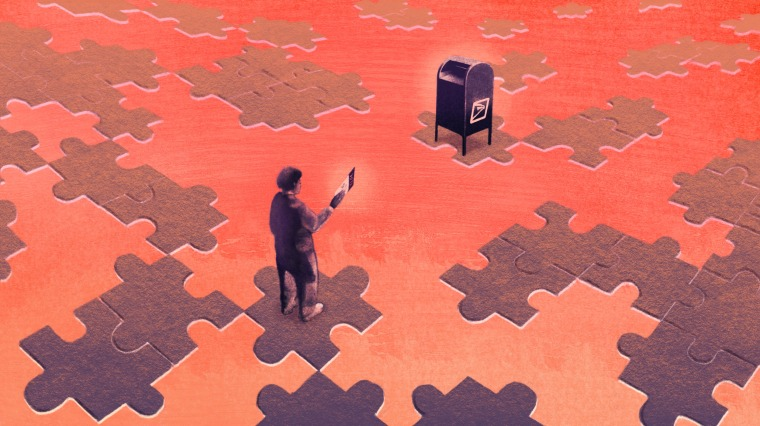 Image: A person of color holding a mail-in ballot stands on a puzzle piece separated from a USPS mailbox on a different puzzle piece.