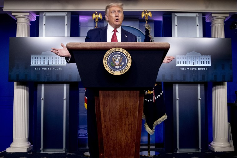 Image:President Donald Trump speaks at a news conference at the White House