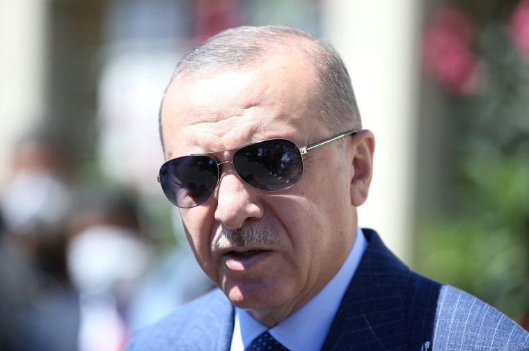 Image: Turkish President Erdogan talks to media in Istanbul