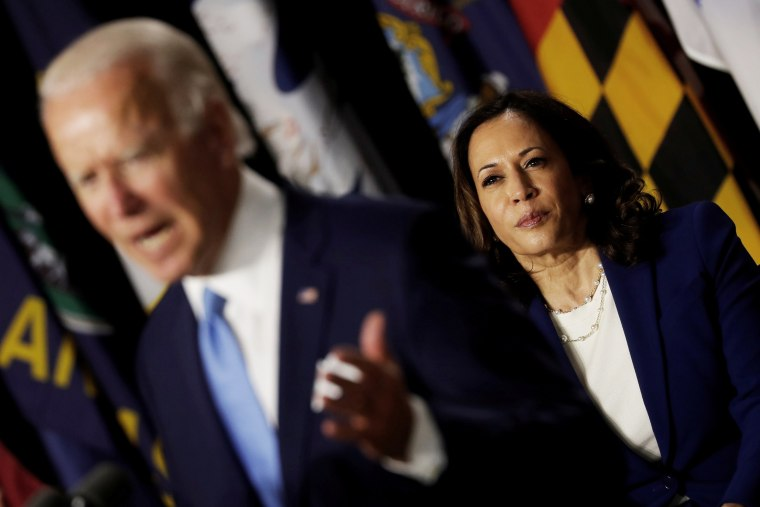 Image: FILE PHOTO: Democratic presidential candidate Biden and vice presidential candidate Harris hold first joint campaign appearance as a ticket in Wilmington, Delaware