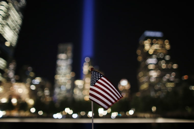 """The """"Tribute in Light"""" is seen in the sky above the National September 11 Memorial at the World Trade Center site on the 16th anniversary of the Sept. 11 terror attacks, Monday, Sept. 11, 2017, in New York."""
