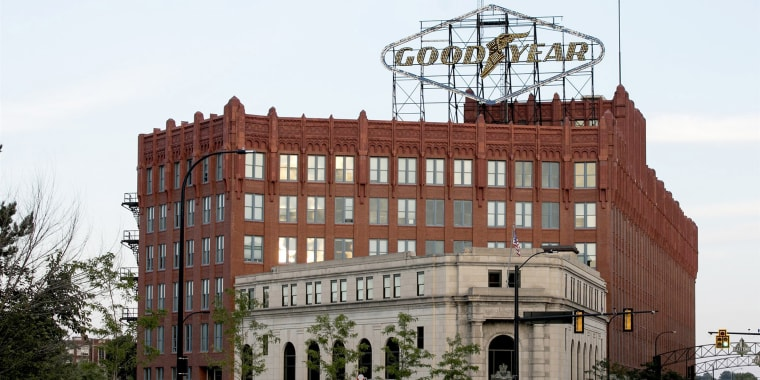 The Goodyear Tire and Rubber Company logo sits atop the former headquarters in Akron, Ohio on August 10, 2019.