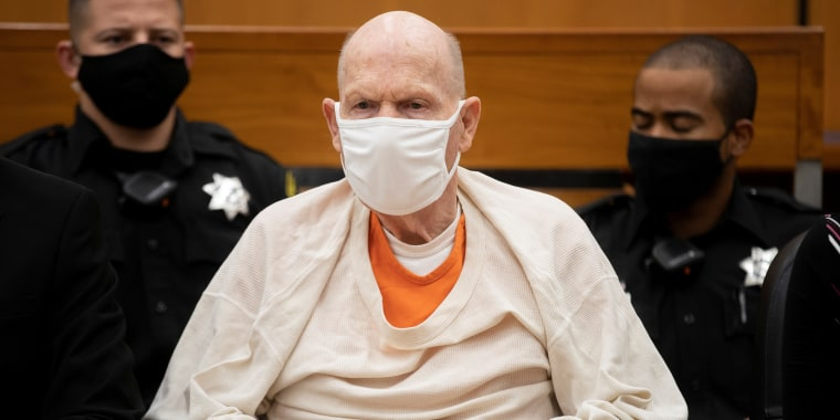 Image: Joseph James DeAngelo, known as the Golden State Killer, attends victim statements at court in Sacramento