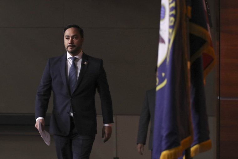 Congressional Hispanic Caucus chairman Rep. Joaquin Castro arrives for a news conference at the Capitol on Nov. 12, 2019.