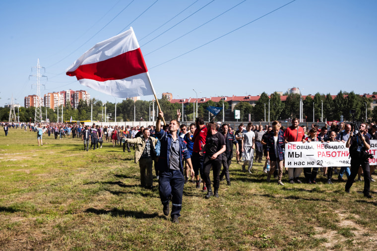 Image: Workers march calling for nationwide strikes on Aug. 17, 2020 in Minsk, Belarus.