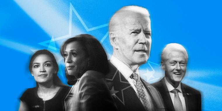 Image: Rep. Alexandria Ocasio-Cortez, Sen. Kamala Harris, Joe Biden and Bill Clinton.