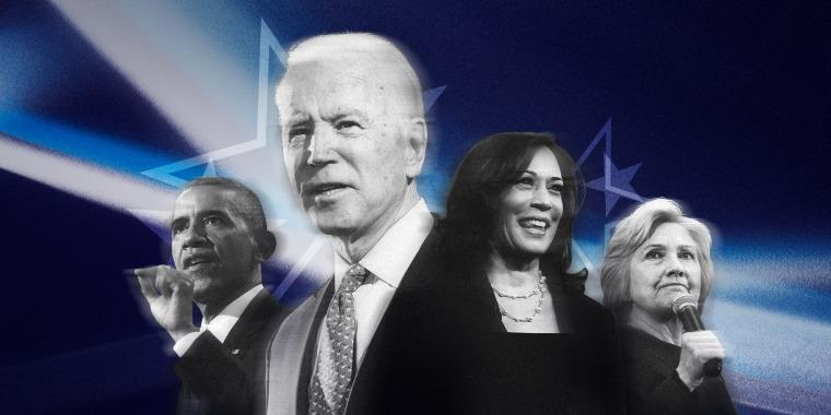 Image: Barack Obama, Joe Biden, Sen. Kamala Harris, and Hillary Clinton