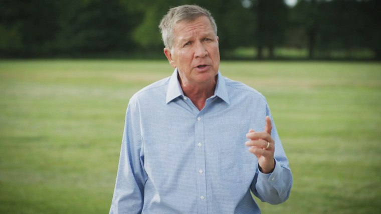 John Kasich spoke on the first night of the Democratic National Convention on Aug. 17.