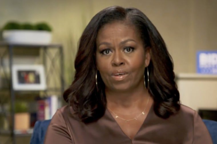 Image: Michelle Obama addresses the virtual convention on Aug. 17, 2020.
