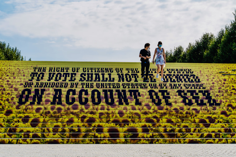 An art installation commemorating the 19th Amendment on the monumental staircase at the FDR Four Freedoms Park on Roosevelt Island in New York City.