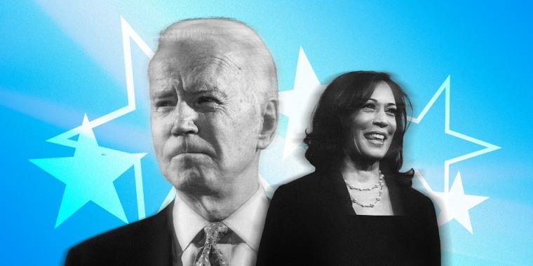 Image: Joe Biden and Kamala Harris on a blue background with white stars.