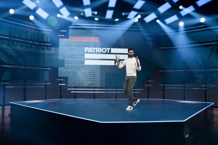 "Hasan Minhaj in Netflix's \""Patriot Act.\"""