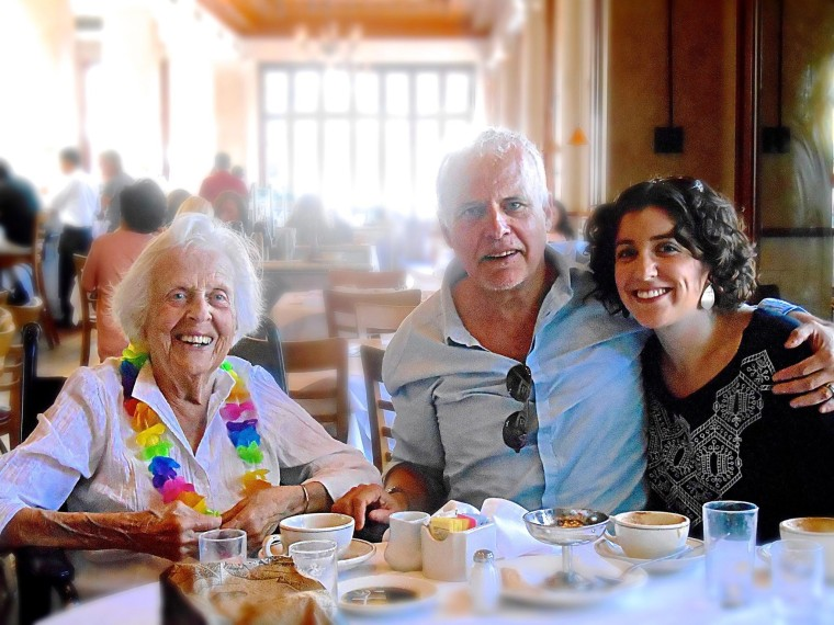 The author and his daughter celebrate his mother's 90th birthday.