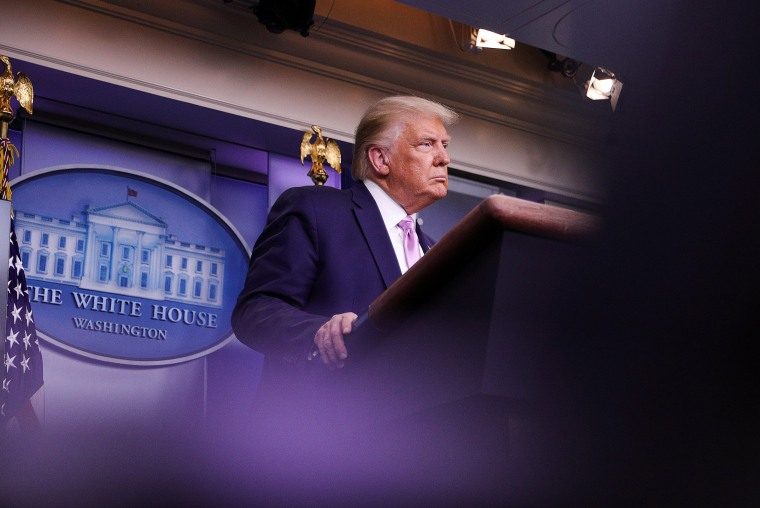 Image:President Donald Trump during a news conference at the White House