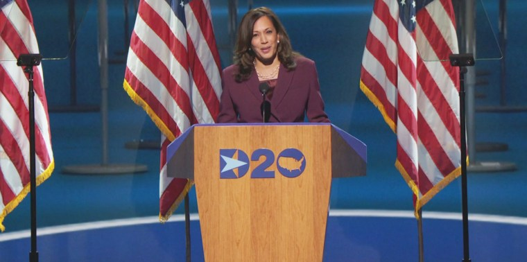 """Sen. Kamala Harris said President Donald Trump's """"failure of leadership has cost lives and livelihoods"""" during the Democratic National Convention on Wednesday."""