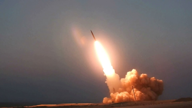Image: A missile unveiled by Iran is launched in an unknown location