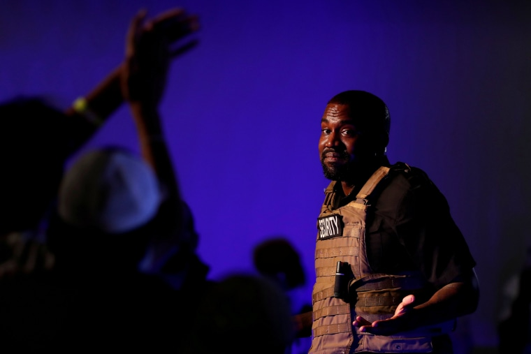 Image: Rapper Kanye West holds his first rally in support of his presidential bid in North Charleston