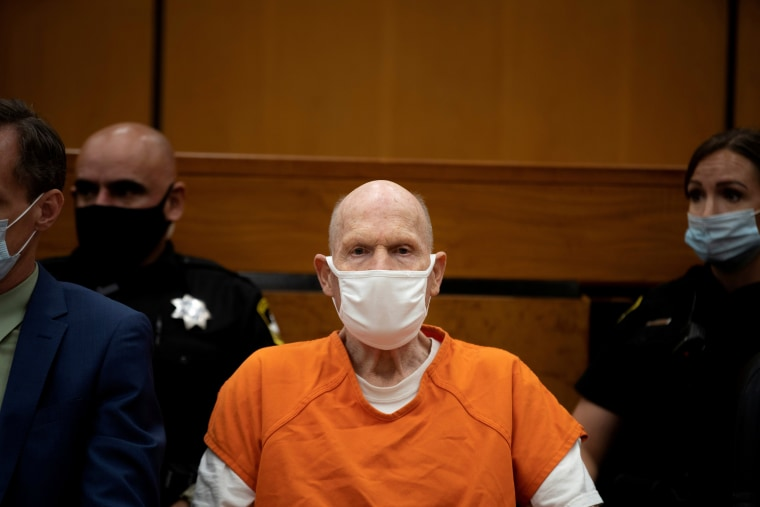 Image: Joseph James DeAngelo, known as the Golden State Killer, attends victim statements in Sacramento