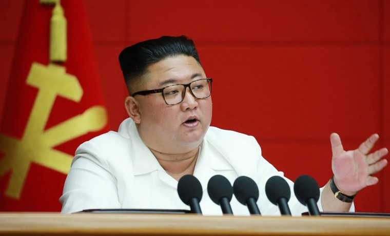 Image: North Korean leader Kim Jong Un speaking at the Central Committee of the Party in Pyongyang