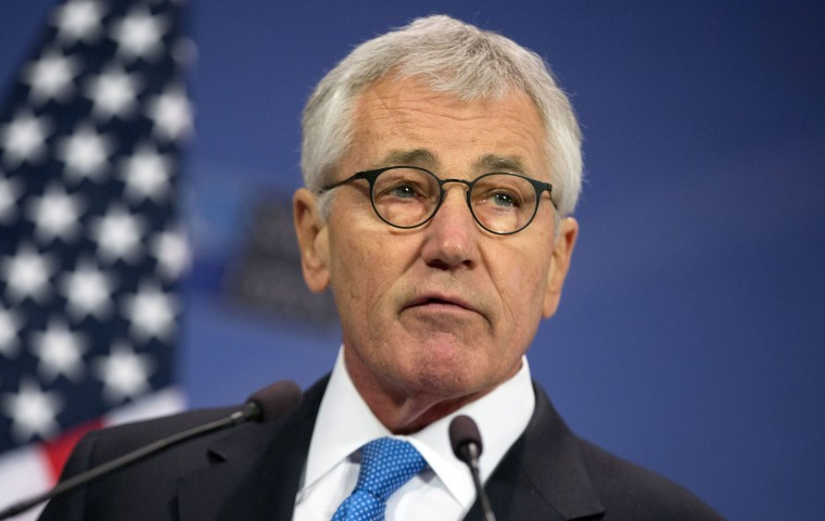 Image: U.S. Secretary of Defense Chuck Hagel speaks during a media conference at NATO headquarters in Brussels.