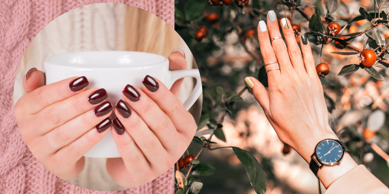 Woman's hands holding mug and woman's hand against autumn leaves showcasing fall nail polish colors